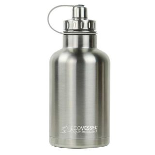 Ecovessel Boss Growler 1900ml Hot Cold Drinks Water Bottle & Infuser Silver Express