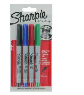 Sharpie Ulta-Fine markers - Pack of 4 Red, Black, Blue, Green